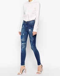 Dr. Denim Dr Denim Plenty Ankle Skinny Jeans With Paint Splash Blue