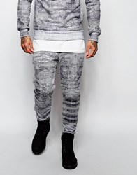 Criminal Damage Joggers In Faded Stripe Blackwhite