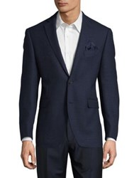 Black Brown Slim Fit Textured Jacket Blue