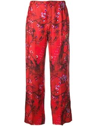 F.R.S For Restless Sleepers Peacock Print Trousers Red