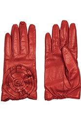 Valentino Floral Appliqued Leather Gloves Red