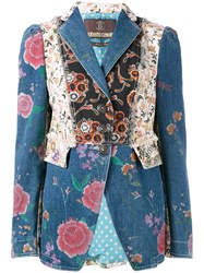 Roberto Cavalli Floral Patch Fitted Jacket Blue