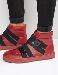 Asos Hi Top Trainers In Red With Cross Over Black Elastic Red