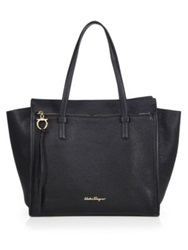 Salvatore Ferragamo Amy Convertible Leather Tote Nero Black New Bisque