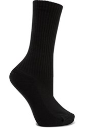 Balenciaga Ribbed Intarsia Cotton Blend Socks Black