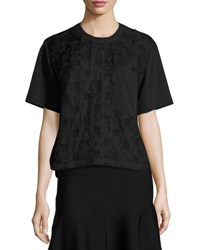 Grey By Jason Wu Short Sleeve Boxy Jacquard Cloque Top Black