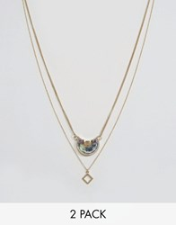 Designb London Square And Stone Pendant Necklaces In 2 Pack Gold