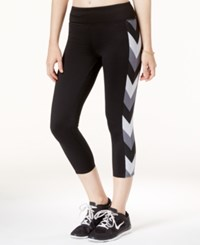 Jessica Simpson The Warm Up Printed Mesh Trim Cropped Leggings Only At Macy's Black Grey