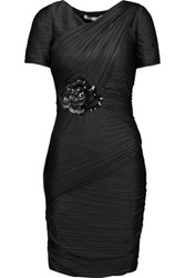 Halston Heritage Embellished Ruched Plisse Stretch Satin Dress Black