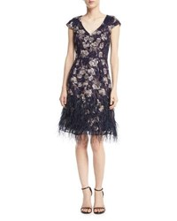 David Meister Floral V Neck Cocktail Dress W Feather Skirt Navy