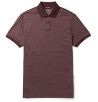 Ermenegildo Zegna Slim Fit Cotton And Silk Blend Polo Shirt Red