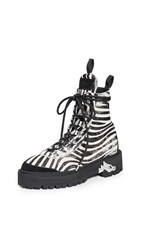 Off White Hiking Boots All Over Black White