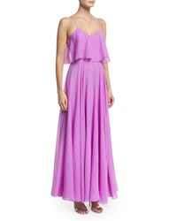 Halston Heritage Sleeveless Flounce Bodice Georgette Gown Tulip Size 10