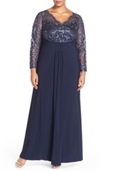 Marina Sheer Beaded Lace Sleeve Gown Plus Size