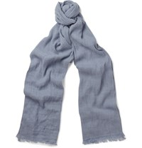 Loro Piana Dorset Flax And Cashmere Blend Scarf Blue