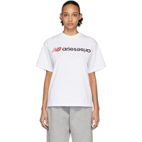 Aries White New Balance Edition Logo T Shirt