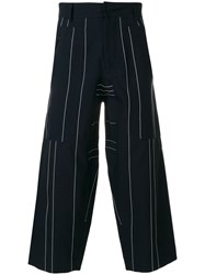 Cedric Charlier Striped Cropped Trousers Blue