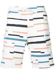 Wesc Marty Broken Stripe Shorts Men Cotton M White