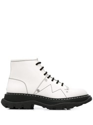 Alexander Mcqueen Lace Up Combat Boots White