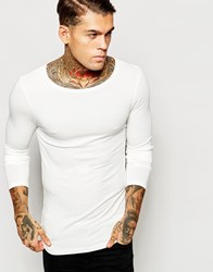 Asos Extreme Muscle Long Sleeve T Shirt In Off White With Boat Neck Off White