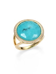 Ippolita Lollipop Turquoise Diamond And 18K Yellow Gold Ring