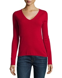 Neiman Marcus Cashmere V Neck Rolled Trim Sweater Scarlet Red