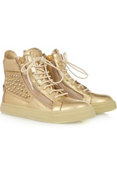 Giuseppe Zanotti Studded Metallic Leather High Top Sneakers
