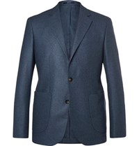 Hardy Amies Navy Slim Fit Unstructured Cashmere Blazer Blue
