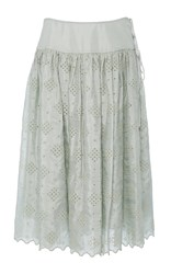 Ms Min Silk Drop Waist Eyelet Full Skirt Green