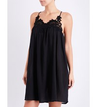 Seafolly Lace Detail Crinkled Cotton Swing Dress Black