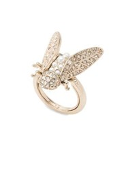 Marchesa Crystal And Faux Pearl Goldtone Insect Ring