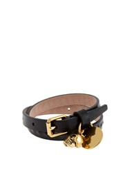 Alexander Mcqueen Skull Embossed Leather Wraparound Bracelet Black