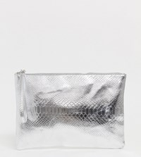 South Beach Exclusive Silver Snake Embossed Clutch Bag