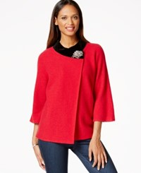 Jm Collection Petite Velvet Trim Crossover Coat Only At Macy's New Red Amore