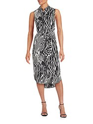 Equipment Zebra Print Silk Dress Black White