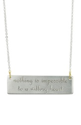 Baroni 'Nothing Is Impossible...' Engraved Pendant Necklace Silver Gold