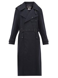 Junya Watanabe Contrast Panel Wool Trench Coat Navy Multi