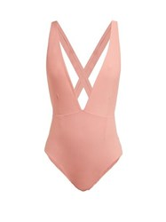 Haight Marina Deep V Neck Jersey Swimsuit Pink