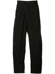Ziggy Chen Panelled Wide Leg Trousers Black