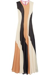 Roksanda Ilincic Paneled Silk Seersucker And Silk Crepe De Chine Dress Multi