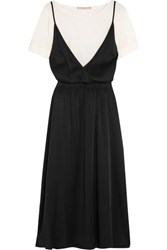 Vanessa Bruno Gala Crepe And Satin Midi Dress Black