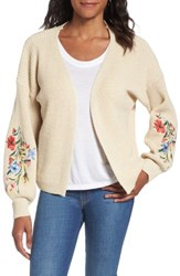 Woven Heart Women's Girls Embroidered Cardigan Oatmeal