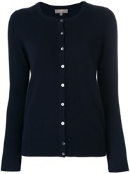 N.Peal Cashmere Round Neck Cardigan Blue