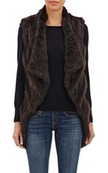 Barneys New York Rabbit And Raccoon Fur Vest Brown