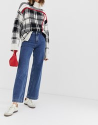 Selected Mary High Waisted Wide Leg Jeans Blue