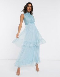 Frock And Frill Tiered Tulle Maxi Dress In Blue Yellow