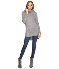 Brigitte Bailey Cameo Turtleneck Sweater With Side Slits Light Grey Women's Sweater Gray