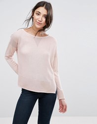Selected Amba Boat Neck Knit Jumper Peach Whip Pink
