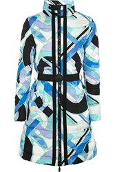 Emilio Pucci Quilted Printed Shell Down Coat Blue