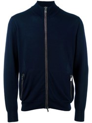 Canali High Neck Zipped Cardigan Blue